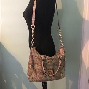 Michael Kors snake print crossbody satchel handbag